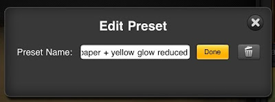 editing a preset name or deleting it