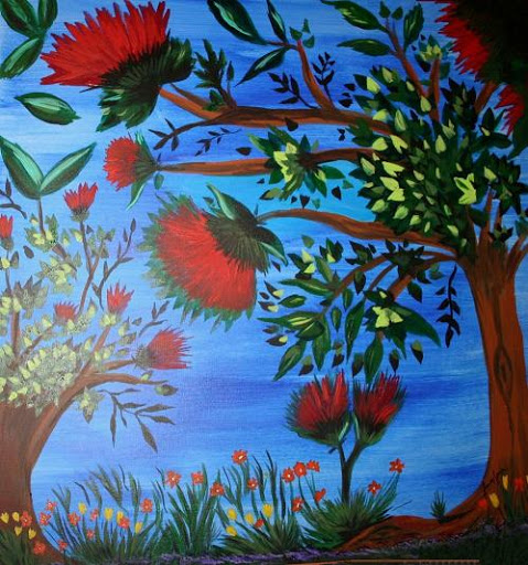 """Derrier la Arc en Eiel: Indigo"" (Behind the Rainbow) Series 6 of 7 by artist J. Louvre Spezia. Acrylic. $500"