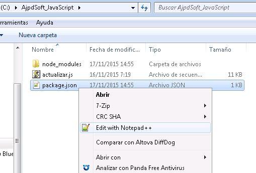 Descarga de las dependencias, librerías adicionales con Node.js