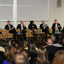 The full panel from left to right: Beril Toktay (Center Faculty Director), Tom Murray (EDF), John Brock (Coca Cola Enterprises), Heather McTeer Toney (EPA), Phil Martens (Novelis), Mike Duke (Walmart), and moderator Howard Connell (Center Managing Director)r)