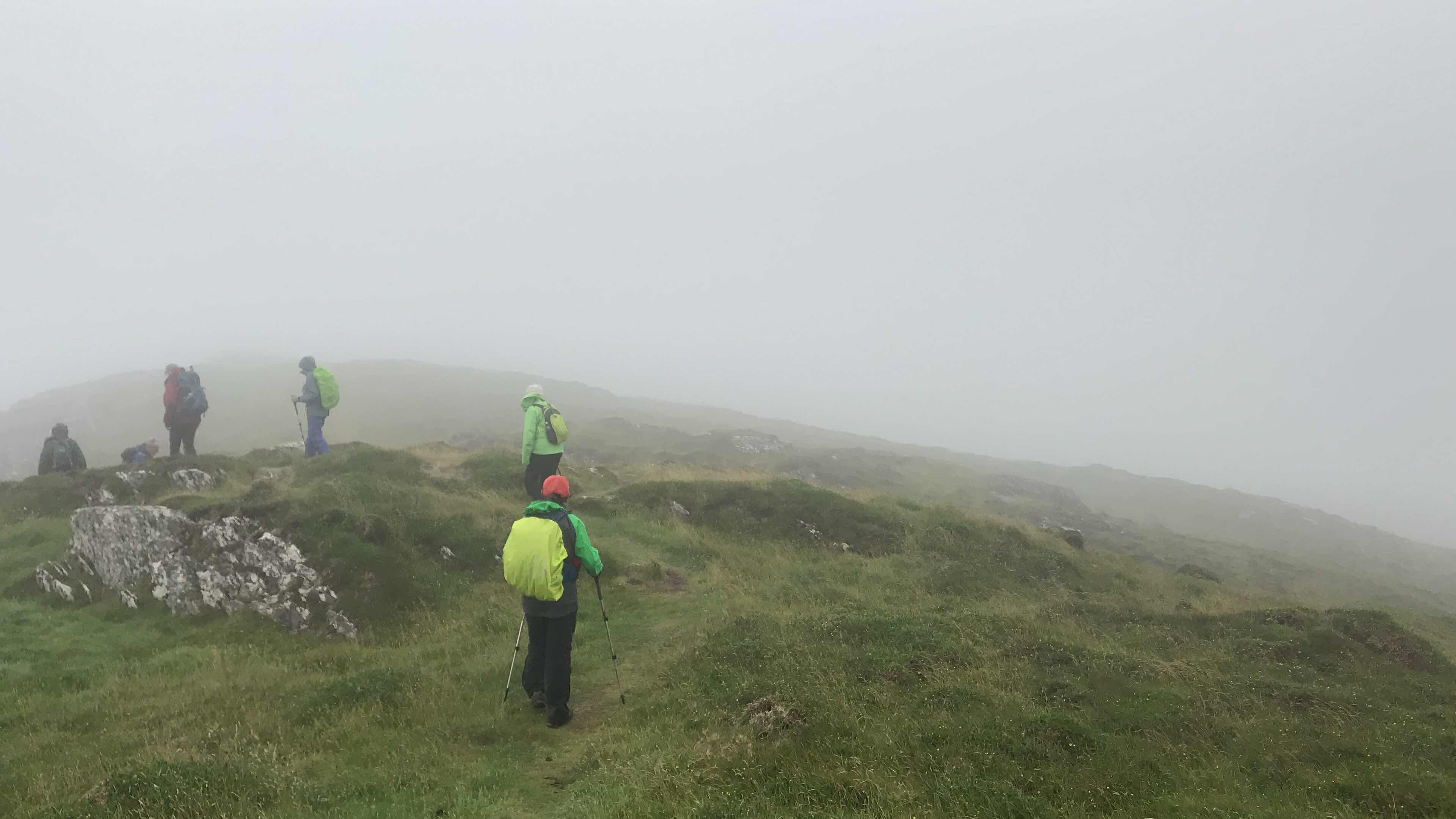 hilltops in mist