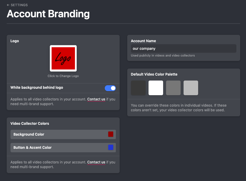Account Branding in Vocal Video: Customize the logo, Account name, Video collector colors, and more.