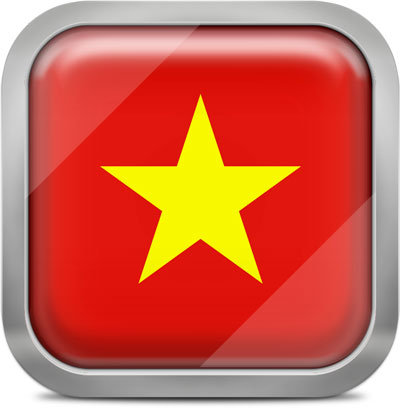 Vietnam square flag with metallic frame