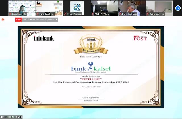 Bank Kalsel Raih Penghargaan Infobank TOP BUMD Award 2021