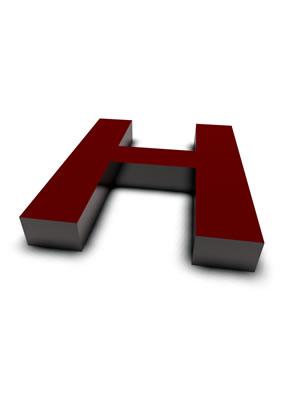 lettre 3D rouge de Chine - H - images libres de droit