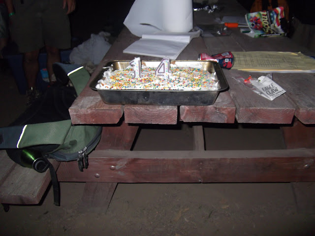 Matthews Birthday cake at camp....freshly baked in camp!