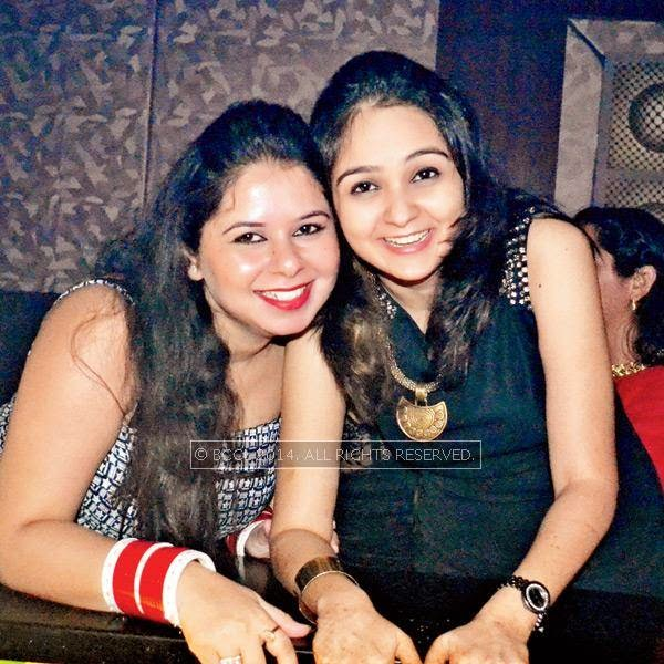 Monisha (L) and Raveena during a party thrown by Sumit Chawla and Raveena in Kanpur.