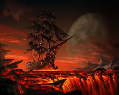 A tattered ghost ship sailing above a hellish landscape