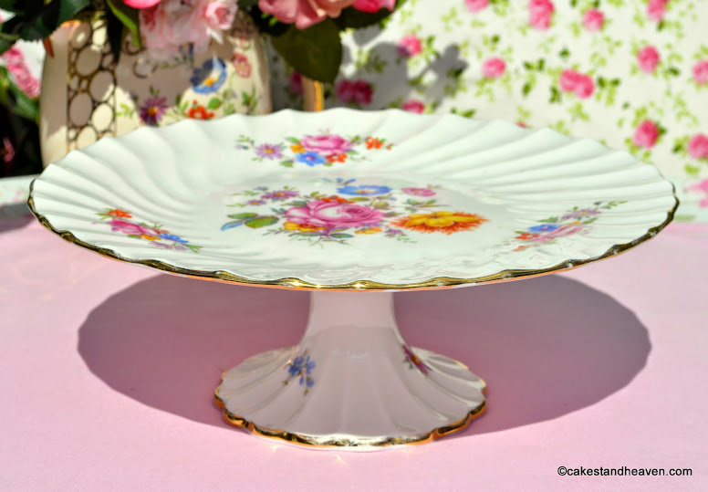 Crown Staffordshire c.1930s fine bone china cake plate