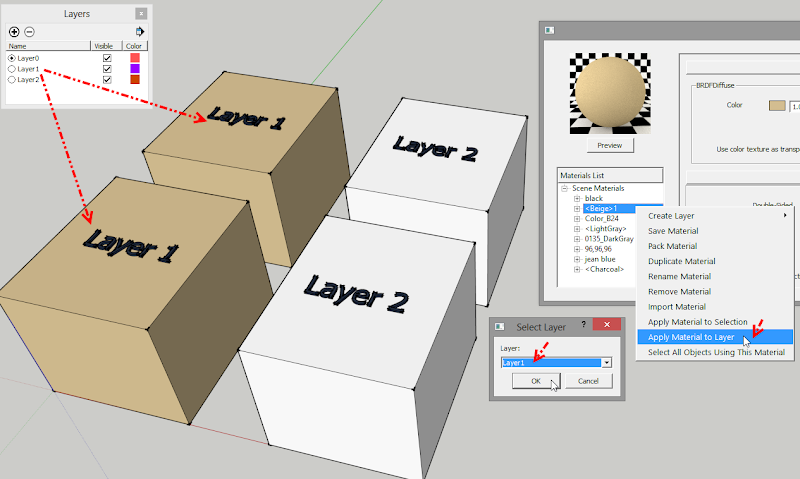การใช้งานคำสั่ง Apply Material to Selection, Layer และ Select All Objects Using This Material Vrayamt03