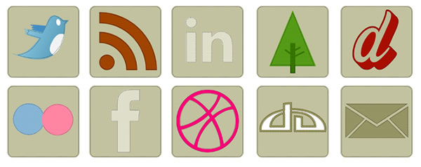eco icons, grunge icons, twitter icon, facebook icon, rss icon, linkedin icon, forrst icon, flickr icon, facebook, deviantart icon, email icon, mail icon