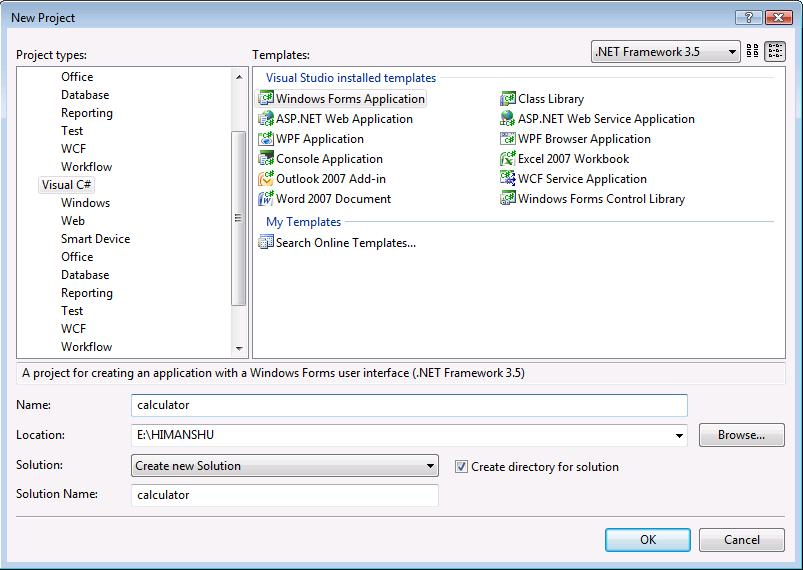 Simple calculator using Windows form Application with C# in VS2008