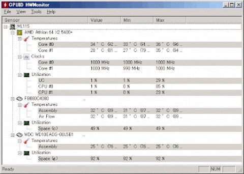 CPU交換後アイドル時でCPU温度は34℃