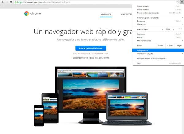 Google pagina de inicio en Chrome