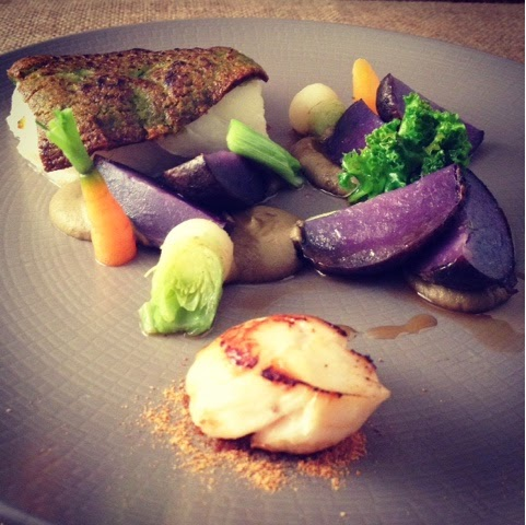 Herb Crusted Cod Caramelised Aubergine Caviar, Potato, Sprout Leaves, King Scallop, Dashi