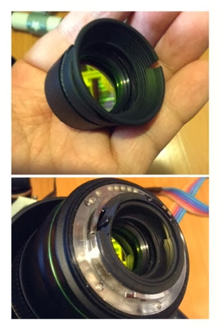 後置光害濾鏡  light pollution filter:rear setup。 cut a piece out of the eyecup if the eyecup is too big to fit inside the lens.