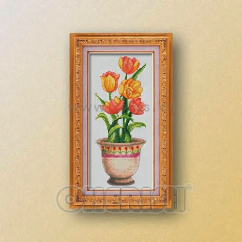 Pot flowers No3cross stitch pattern