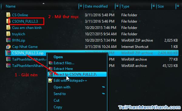 Cách cài Counter Strike Online cho bản full .zip