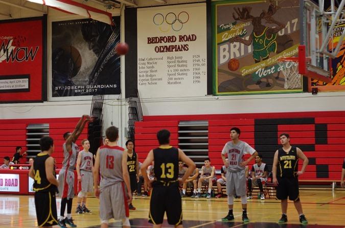 Mount Royal Mustangs vs. Bedford Road Redhawks in Senior Men's Basketball Action