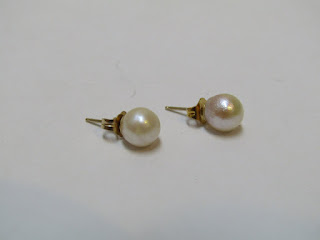 14 K Gold Pearl  Earrings