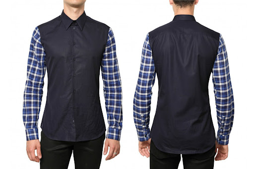 GIVENCHY - CHECKED AND PLAIN COTTON POPLIN SHIRT
