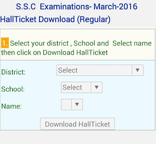 AP SSC/ 10th Class Hall Tickets- SSC Examinations March 2016 Hall Tickets