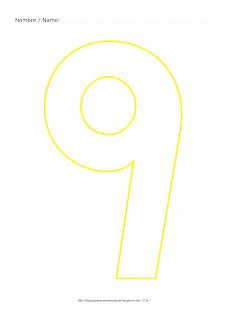 Lámina para colorear y pintar el número nueve en color amarillo