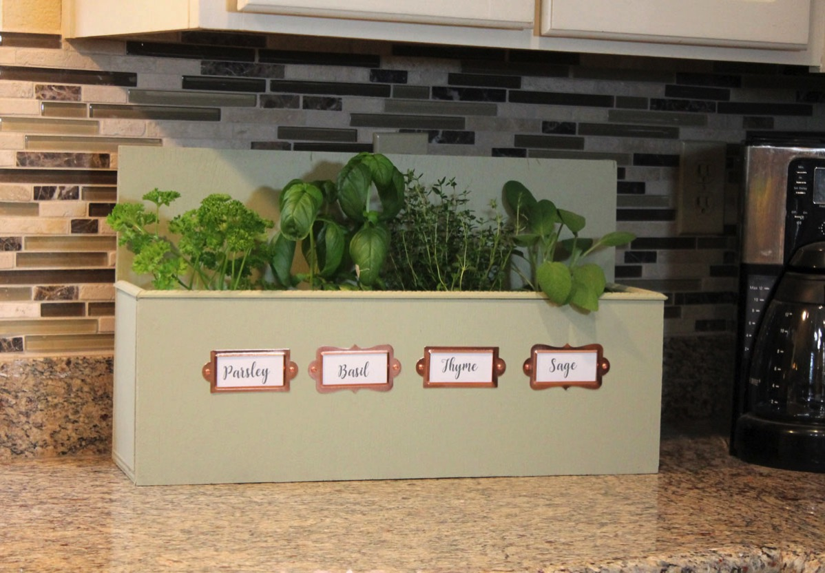 DIY wooden herb garden box