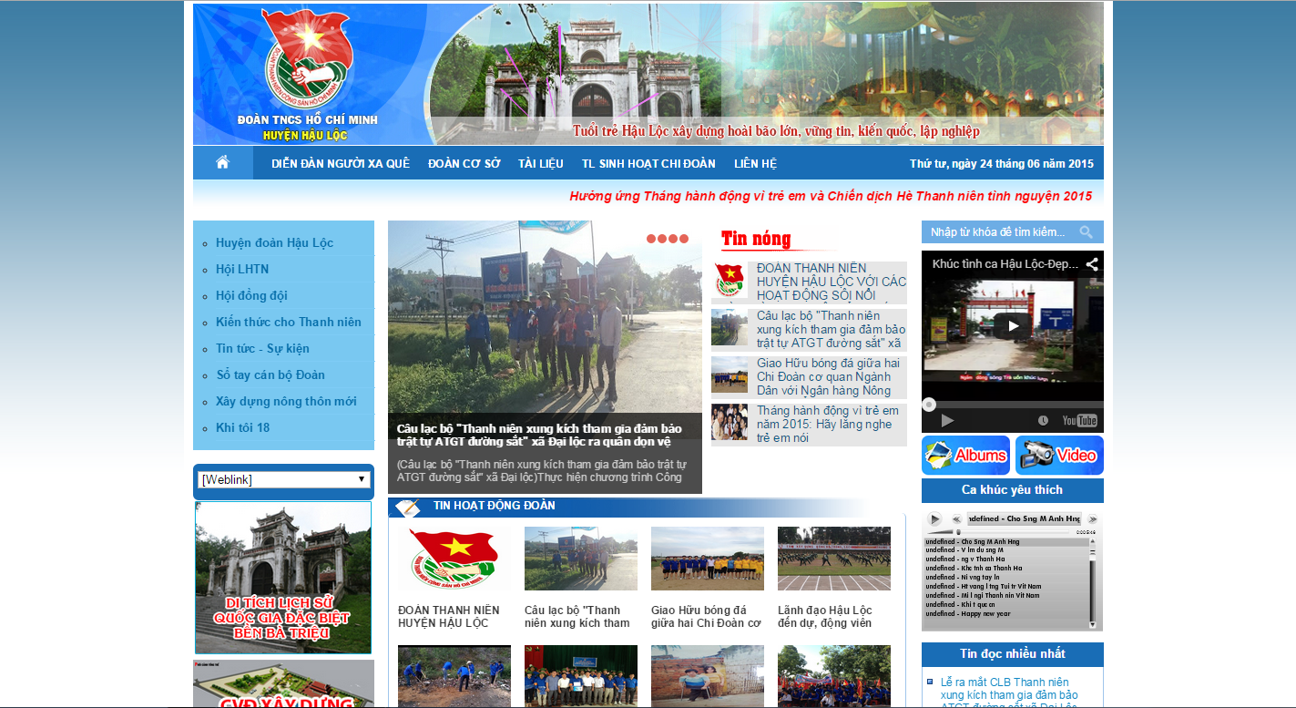 Thiết kế Web Huyện Đoàn Hậu Lộc – Thanh Hóa