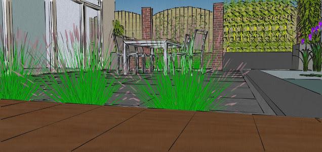 Strakke achtertuin met schanskorven en vijver