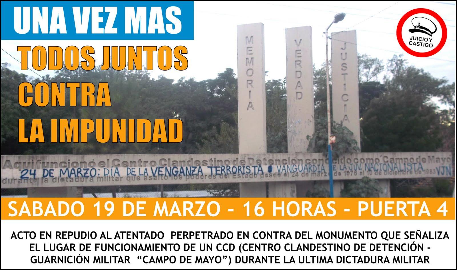 Derechos humanos acto en repudio al atentado contra el for Puerta 7 campo de mayo