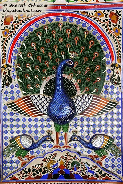 Embossed wall painting of peacock