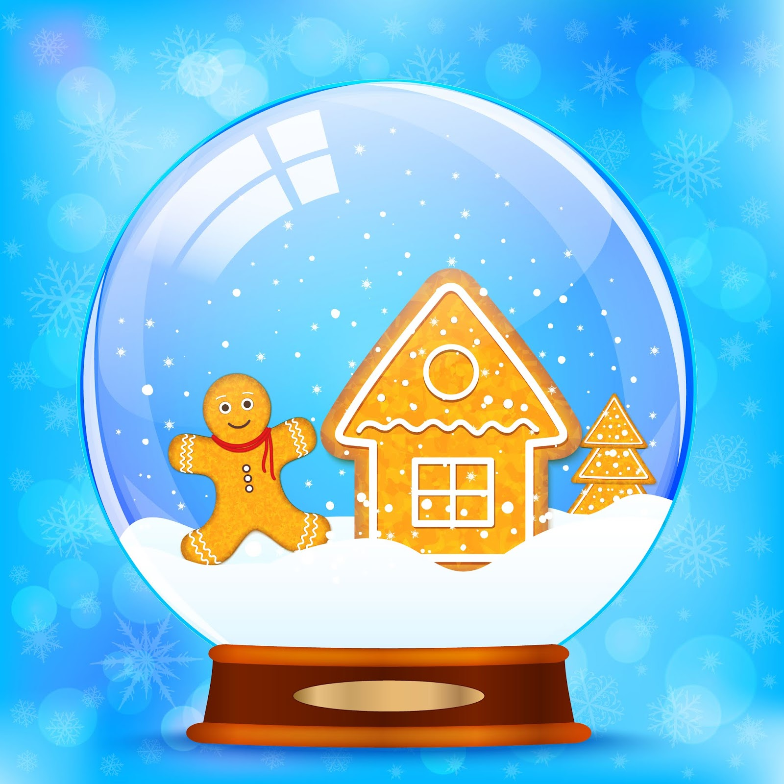 Snow Globe Gingerbread Vector Free Download Vector CDR, AI, EPS and PNG Formats