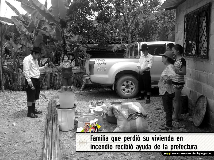 FAMILIA QUE PERDIÓ SU VIVIENDA EN INCENDIO RECIBIÓ AYUDA DE LA PREFECTURA