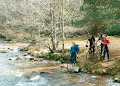 "Steve, Stue, Nigel & Paul. MTB Rothiemurc​hus Forest.  ""Cairngorm Club Footbridge"". Late 90's ?"