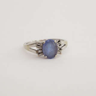 14K White Gold & Blue Stone Ring