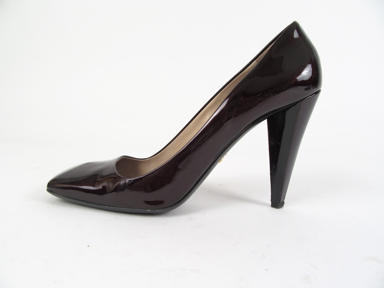 Prada Metallic Eggplant Pumps