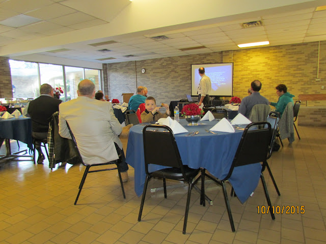 Historian Brian Bohnett gives a Michigan Military Academy presentation after brunch at the Orchard Lake School Dining Hall.