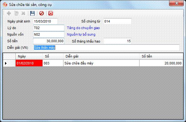 Sửa tài sản phần mềm kế toán 3tsoft