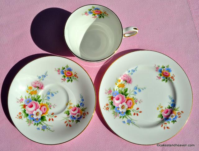 Paragon floral fine bone china teacup, saucer, tea plate