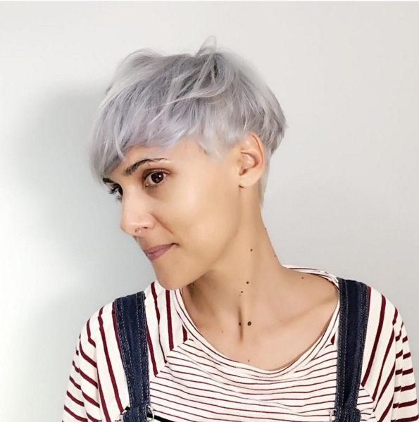 Pixie haircut on silver grey hair