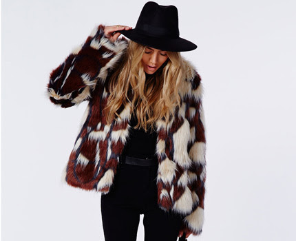 Fashion blogger Sincerely Jules wearing multicolor faux fur coat by River Island, big winter 2014 trend