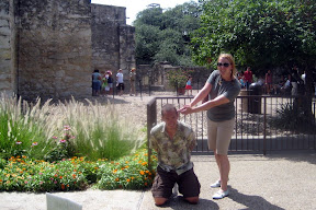 outside the Alamo, playing Mexican and Hero of Texas Mythology Begging For His Life