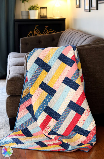 Fast Track quilt pattern by A Bright Corner - fast to piece and great for using precuts - jelly roll strips, layer cake squares and fat quarters