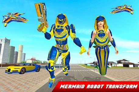 Mermaid Transforming Robot: Air Jet Robot War Game 5