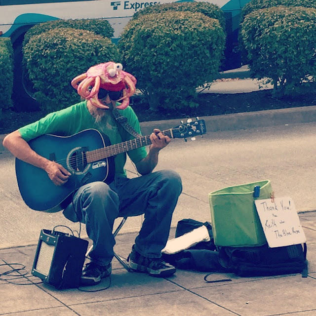 Street music by Keith, at the Renton Farmer's Market.