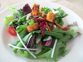 Quartet Portland, fine dining restaurant, Q Salad, blended greens, jicama, Cajun pumpkin seeds, lemon-honey-Dijon dressing