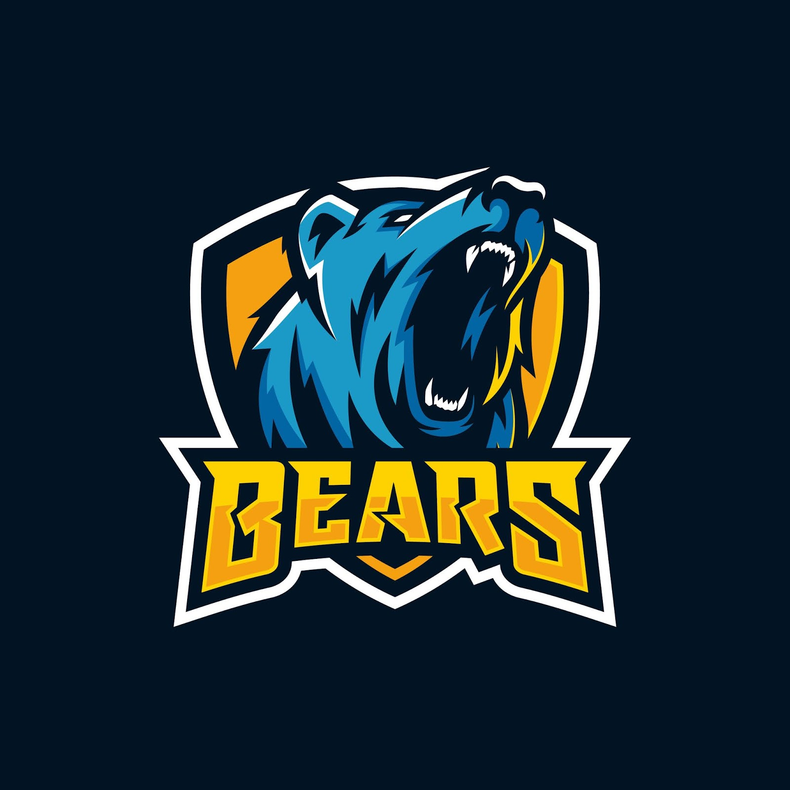 Modern Professional Grizzly Bear Logo Sport Team Free Download Vector CDR, AI, EPS and PNG Formats