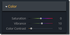 Color Filter Panel controls