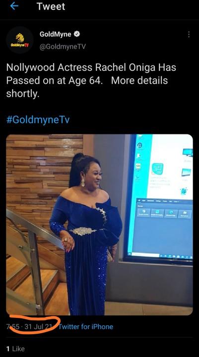 Rachel Oniga Is Dead! Nollywood Actress Dies Age 64